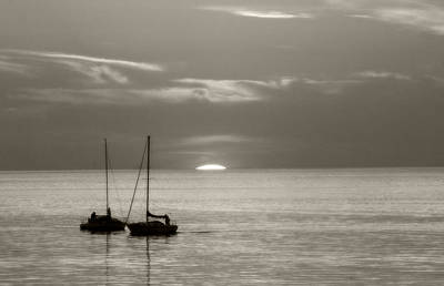 Lake Sunset Photograph - Vintage Sailboat Sunset by Michael Allen