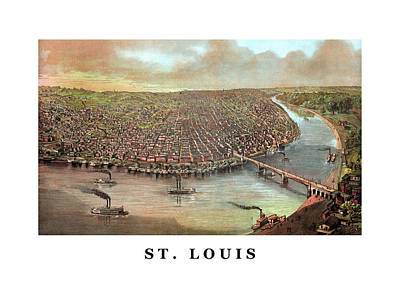 Saint Louis Mixed Media - Vintage Saint Louis Missouri by War Is Hell Store