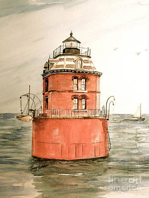 Painting - Vintage Sandy Point Light  by Nancy Patterson