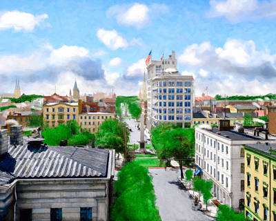 Photograph - Vintage Savannah - View Over Historic Johnson Square by Mark E Tisdale