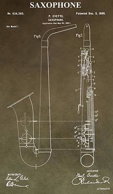 Sound Digital Art - Vintage Saxophone Patent by Dan Sproul