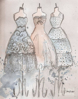 Painting - Vintage Scallops Lace And Bow Trio by Lauren Maurer