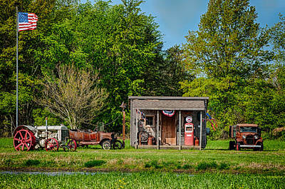 Photograph - Vintage Scene And Vehicles by Gene Sherrill