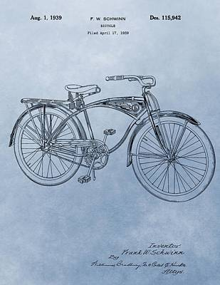 20th Mixed Media - Vintage Schwinn Bicycle Patent by Dan Sproul