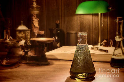 Flasks Photograph - Vintage Science Laboratory by Olivier Le Queinec