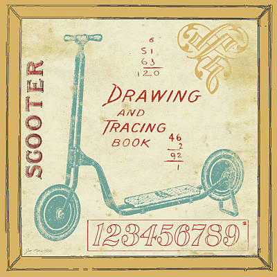 Retro Antique Painting - Vintage Scooter by Jo Moulton