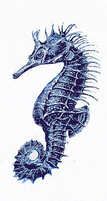 Digital Art - Vintage Seahorse-blue-right by Jane Schnetlage