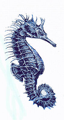 Digital Art - Vintage Seahorse-left -blue by Jane Schnetlage