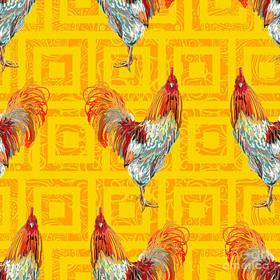 Chicken Digital Art - Vintage Seamless Pattern With Farm by Artskvortsova