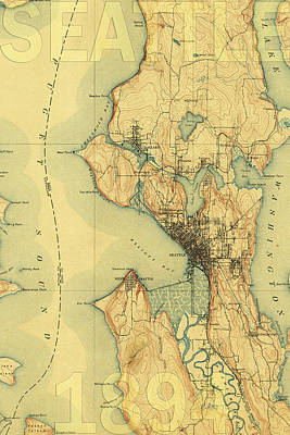 Vintage Map Photograph - Vintage Seattle Map by Andrew Fare