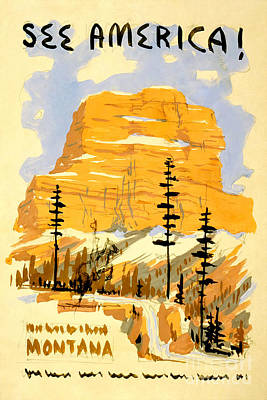 Travel Poster Drawing - Vintage See America Travel Poster by Jon Neidert