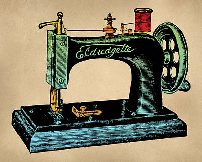 Woodcut Digital Art - Vintage Sewing Machine Illustration by Flo Karp