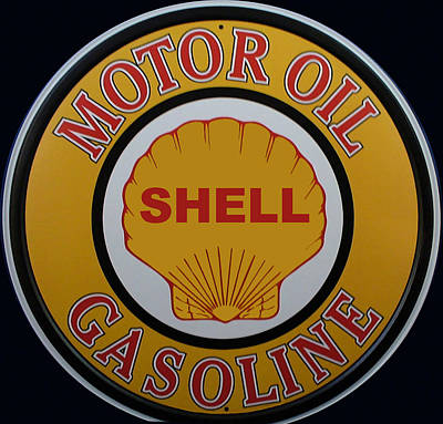 Digital Art - Vintage Shell Motor Oil Gasoline Metal Sign by Marvin Blaine