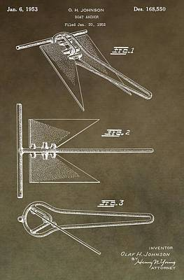 Water Vessels Digital Art - Vintage Ship Anchor Patent by Dan Sproul