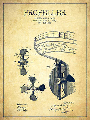 Vintage Ship Propeller Patent From 1893 - Vintage Print by Aged Pixel