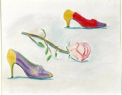 Pastel - Vintage Shoes With Rose by Carmela Cattuti