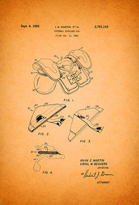 Authority Drawing - Vintage Shoulder Pad Patent 1956 by Mountain Dreams
