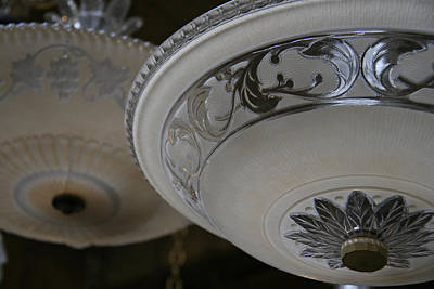 Photograph - Vintage Silver And Glass Lighting Fixture by Elizabeth Rose