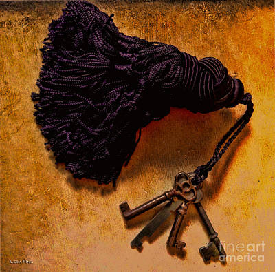 Photograph - Vintage Skeleton Keys Tassled Gold by Lesa Fine