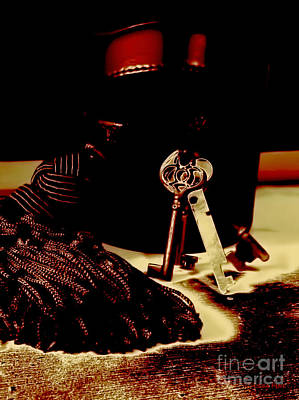 Photograph - Vintage Skeleton Keys_red Leather Box by Lesa Fine