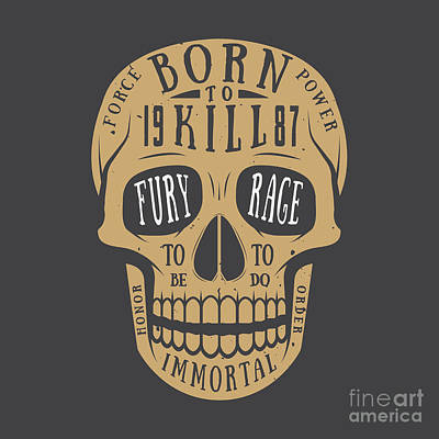 Digital Art - Vintage Skull Label, Emblem And Logo by Akimd