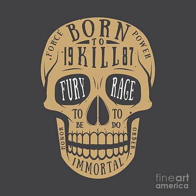 Bone Wall Art - Digital Art - Vintage Skull Label, Emblem And Logo by Akimd