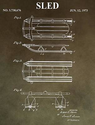 Mixed Media - Vintage Sled Patent by Dan Sproul