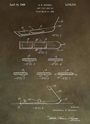 Ski Mixed Media - Vintage Snowboard Patent by Dan Sproul
