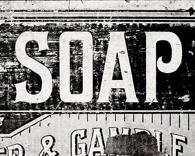 Photograph - Vintage Soap Crate In Black And White by Lisa Russo