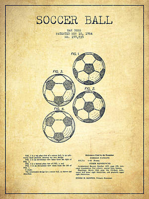 Soccer Drawing - Vintage Soccer Ball Patent Drawing From 1964 - Vintage by Aged Pixel
