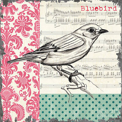 Cute Painting - Vintage Songbird 1 by Debbie DeWitt