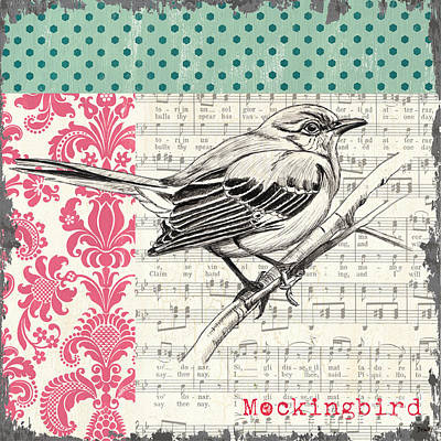 Notes Painting - Vintage Songbird 4 by Debbie DeWitt