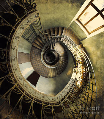 Vintage Spiral Staircase Art Print by Jaroslaw Blaminsky