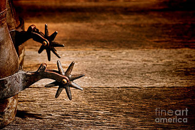 Aged Wood Photograph - Vintage Spurs by Olivier Le Queinec