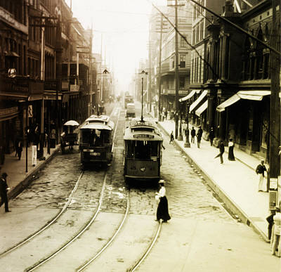 Streetcar Digital Art - Vintage St Charles Street - New Orleans by Bill Cannon
