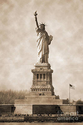 Photograph - Vintage Statue Of Liberty And Flag by RicardMN Photography