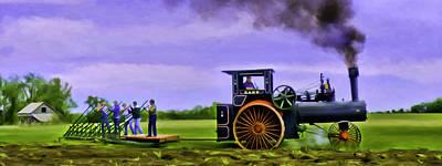Vintage Steam Engine Case 110 Hp Pulling 12 Bottom Plow Art Print by F Leblanc