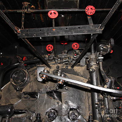 Vintage Steam Locomotive Cab Compartment 5d29254 Square Art Print by Wingsdomain Art and Photography