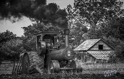 Vintage Steam Tractor - Monochrome Art Print by F Leblanc