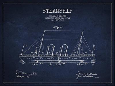 Transportation Digital Art - Vintage Steamship patent from 1911 by Aged Pixel