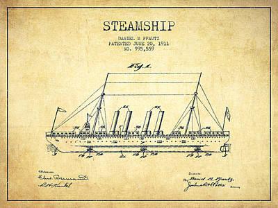 Transportation Digital Art - Vintage Steamship patent from 1911 - Vintage by Aged Pixel