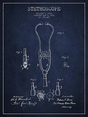 Vintage Stethoscope Patent Drawing From 1882 - Navy Blue Art Print by Aged Pixel