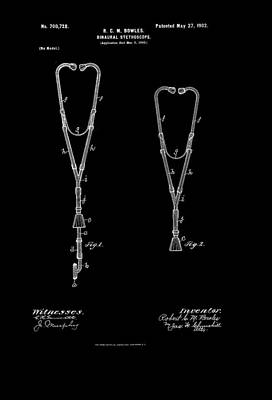 Authority Drawing - Vintage Stethoscope Patent by Mountain Dreams