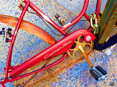 Gold Chain Painting - Vintage Street Bicycle Photo Detail by Tony Rubino