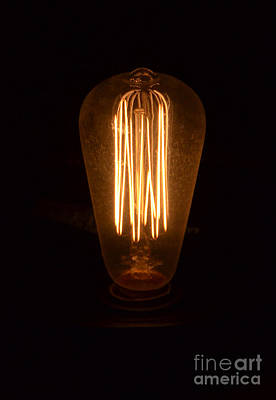 Photograph - Vintage Style Lightbulb Lit by Jill Battaglia