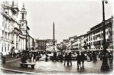 Photograph - Vintage Style Piazza Navona In Sepia by Angela Bonilla