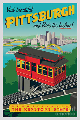 Harvard Digital Art - Vintage Style Pittsburgh Incline Travel Poster by Jim Zahniser