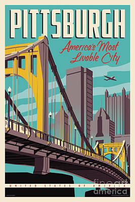 City Skyline Wall Art - Digital Art - Pittsburgh Poster - Vintage Travel Bridges by Jim Zahniser