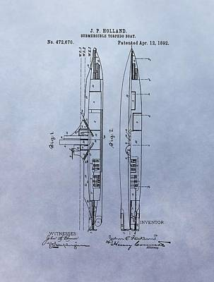 Us Navy Drawing - Vintage Submarine Boat Patent by Dan Sproul