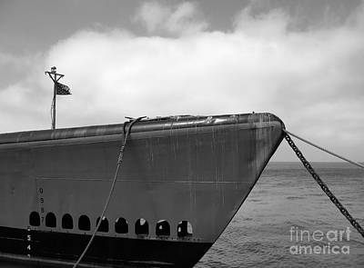 Photograph - Vintage Submarine Uss Pampanito B W  by Connie Fox